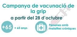 A partir del 28 d'octubre s'inicia la campanya de vacunació de la grip per a majors de 65 anys i/o persones amb malalties cròniques